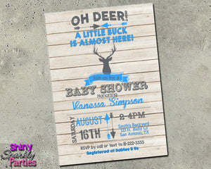 Deer Baby Shower Invitation in Blue (Digital File Only), Digital Download, Printable File, Invitation - Forever Fab Boutique