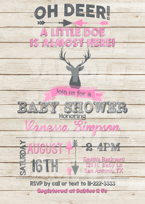 Deer Baby Shower Invitation in Girl (Digital File Only), Digital Download, Printable File, Invitation - Forever Fab Boutique