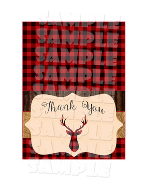 Rustic Deer Thank You Card Folded (Digital File Only), Digital Download, Printable File - Forever Fab Boutique