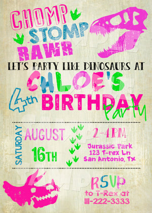 Dinosaur Birthday Party Invitation for a Girl - Jurassic Park Invite