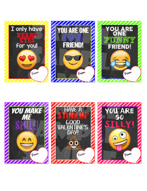 Emoji Valentine Cards - Printable Instant Download