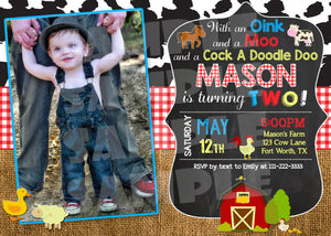 Barnyard Birthday Invitation - Farm Animals Invite With Photo, Digital Download, Printable File, customized party Invitation - Forever Fab Boutique