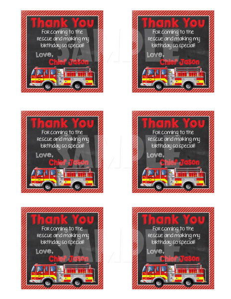 Printable Firetruck Party Favor Tags (Digital File Only) - Forever Fab Boutique - 2