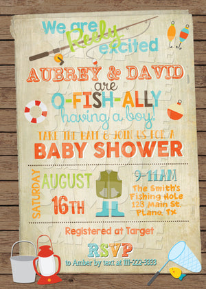 Fishing Baby Shower Invitation, Digital Download, Printable File, customized party Invitation - Forever Fab Boutique