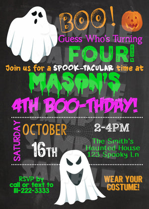 Halloween Ghost Birthday Invitation
