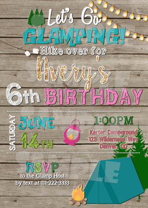 Glamping Birthday Invitation, Digital Download, Printable File, Invitation - Forever Fab Boutique