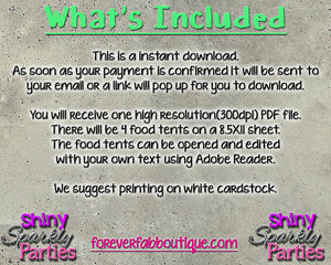 Printable Construction Food Tents Editable (Digital File Only), Digital Download,Printable File - Forever Fab Boutique