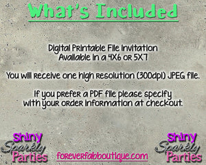 Printable Spa Birthday Invitation (Digital File Only), Digital Download - Forever Fab Boutique