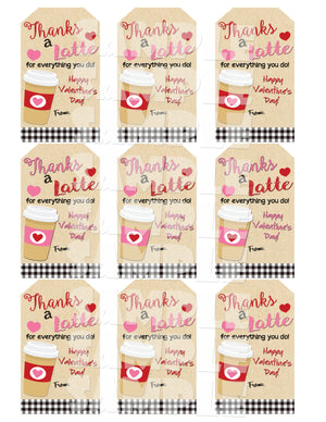 Thanks A Latte Valentine Gift Tags
