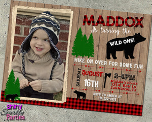 Bear Birthday Invitation With Photo, Digital Download, Printable File, customized party Invitation - Forever Fab Boutique