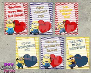 Minion Valentine Cards - Printable Instant Download