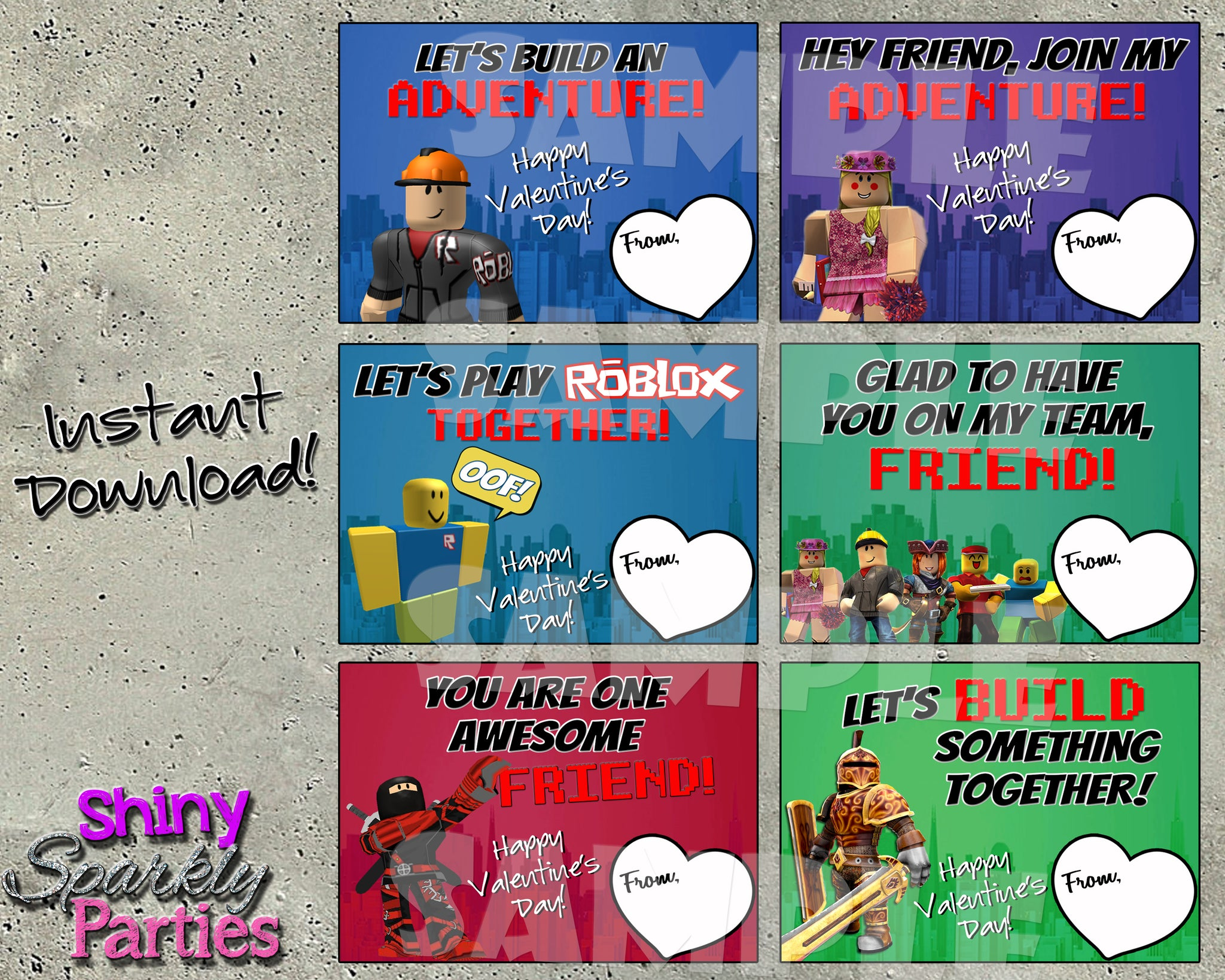 Roblox Valentine Cards Printable Instant Download Forever Fab