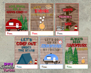 Camping Valentine Cards - Printable Instant Download