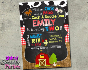 Barnyard Birthday Invitation - Farm Animals Invite, Digital Download, Printable File, customized party Invitation - Forever Fab Boutique