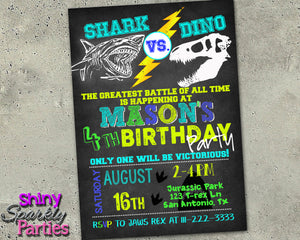 Shark Vs. Dino Birthday Invitation