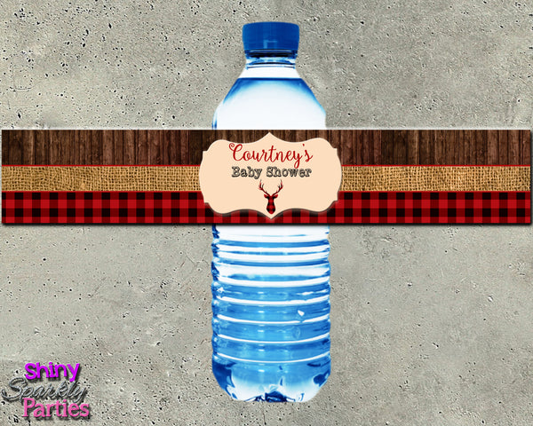 Rustic Deer Baby Shower Water Bottle Labels (Digital File Only)