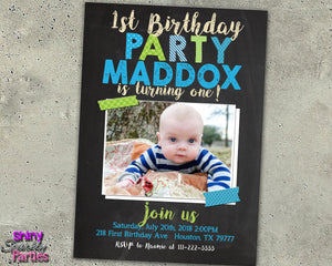 First Birthday Invitation With A Photo, Digital Download, Printable File, customized party Invitation - Forever Fab Boutique