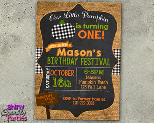 Buffalo Check & Burlap Pumpkin Fall Birthday Invitation