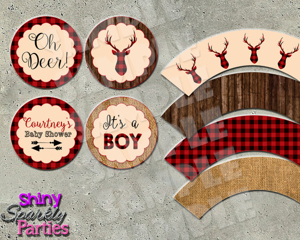 Rustic Deer Cupcake Toppers and Cupcake Wrappers (Digital Files Only)