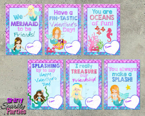 Mermaid Valentine Cards - Instant Download