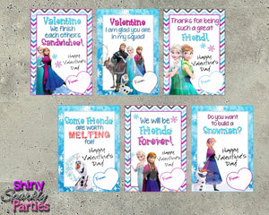 Frozen Valentine Cards - Instant Download