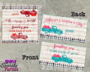 Vintage Truck Valentine Treat Bag Toppers - Printable Instant Download