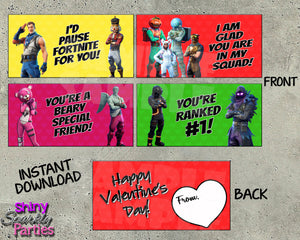 Fortnite Valentine Treat Bag Toppers - Instant Download