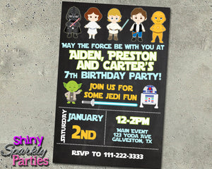 Star Wars Birthday Invitation, Digital Download, Printable File, customized party Invitation - Forever Fab Boutique