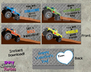 Monster Truck Valentine Treat Bag Toppers - Instant Download