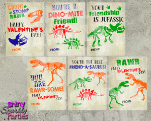 Dinosaur Valentine Cards - Printable Instant Download