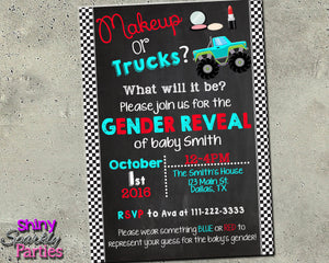 Makeup or Trucks Gender Reveal Invitation