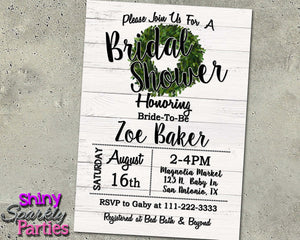 Farmhouse Rustic Bridal Shower Invitation, Digital Download, Printable File, Invitation - Forever Fab Boutique