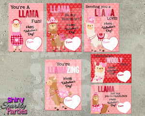 Llama Valentine Cards - Printable Instant Download
