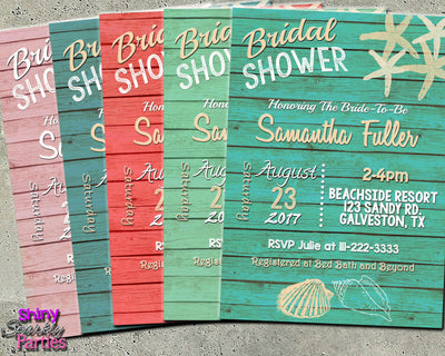 beach bridal shower invitation in multiple colors forever fab boutique