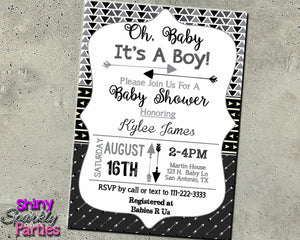 Arrow Baby Shower Invitation in Black (Digital File Only), Digital Download, Printable File, Invitation - Forever Fab Boutique