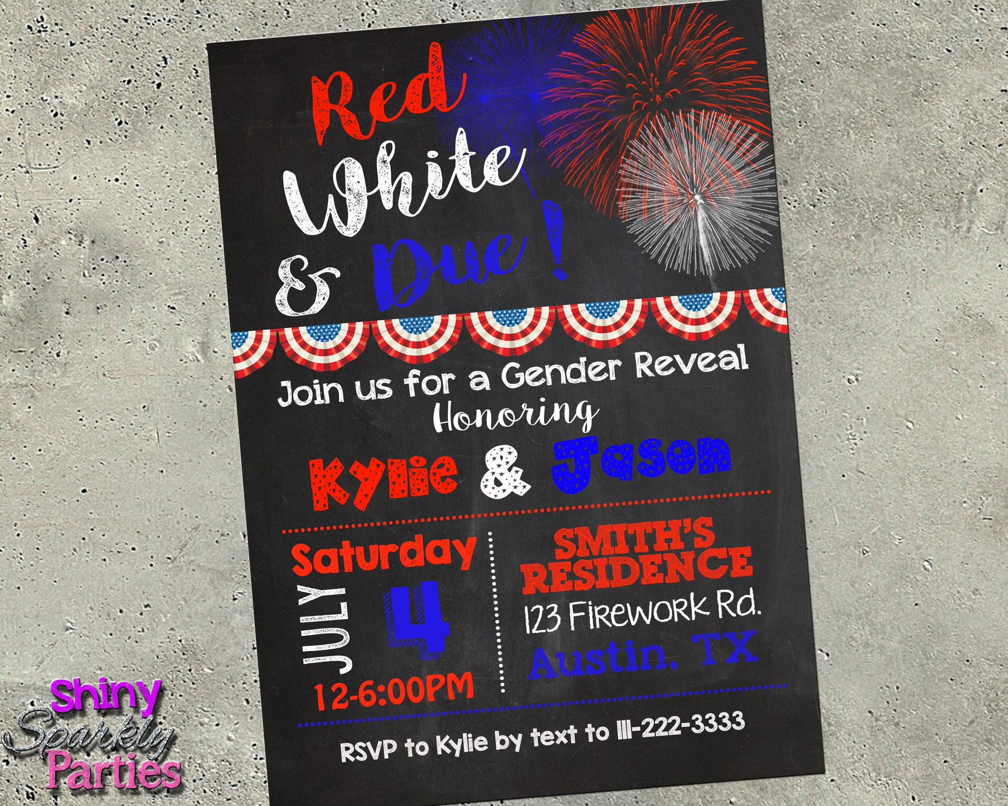 4th of july gender reveal invitation digital download printable file invitation forever