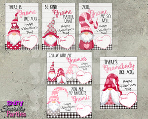 Gnome Valentine Cards - Printable Instant Download