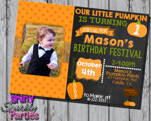 Fall Pumpkin Birthday Invitation With Photo