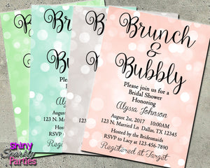 Brunch & Bubbly Bridal Shower Invitation, Digital Download, Printable File, Invitation - Forever Fab Boutique