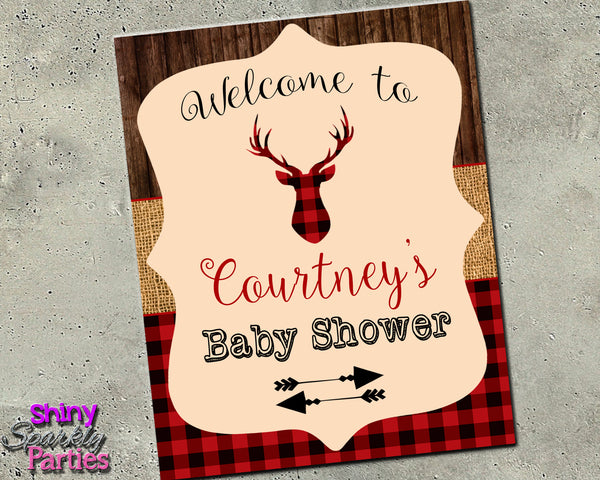 Rustic Deer Welcome Party Sign (Digital File Only)