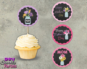 Chalkboard Mother's Day Cupcake Toppers, Digital Download, Printable File, customized party Invitation - Forever Fab Boutique