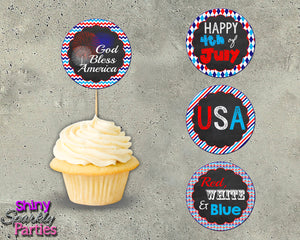 4th Of July Cupcake Toppers, Digital Download, Printable File, customized party Invitation - Forever Fab Boutique
