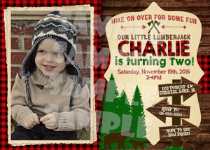Lumberjack Birthday Invitation With Photo, Digital Download, Printable File, customized party Invitation - Forever Fab Boutique