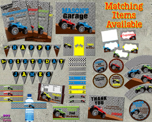 Monster Truck Birthday Banner (Digital Files Only), Digital Download, Printable File - Forever Fab Boutique