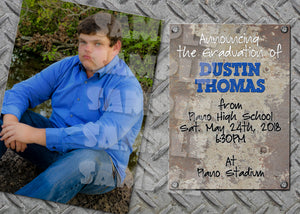 Metal Graduation Announcement for a Guy (Digital File Only), Digital Download, Printable File, Invitation - Forever Fab Boutique