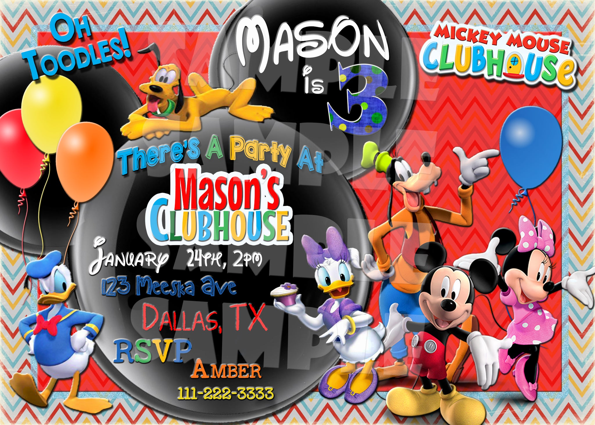 Mickey Mouse Clubhouse Birthday Invitation Forever Fab Boutique