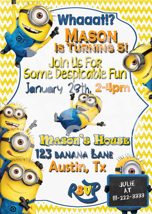 Minion Birthday Invitation - Despicable Me