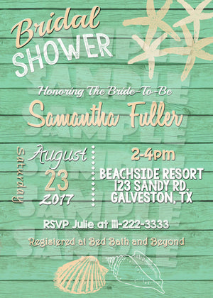 Beach Bridal Shower Invitation in Multiple Colors, Digital Download, Printable File, Invitation - Forever Fab Boutique