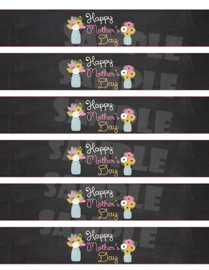 Mother's Day Water Bottle Labels -, Digital Download, Printable File, customized party Invitation - Forever Fab Boutique