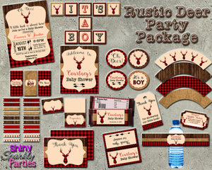 Rustic Deer Baby Shower Party Package (Digital Files Only), Digital Download, Printable File, Party Package - Forever Fab Boutique